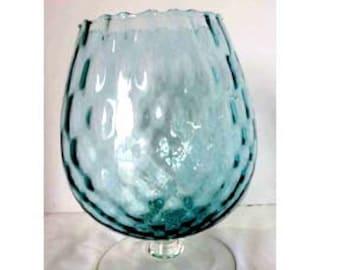 Blue and Clear Glass Stemmed Flower Vase Home and Garden Decor Vases Flower Vases