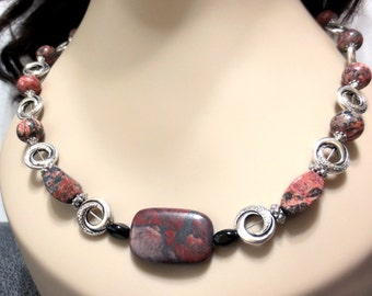 Red Jasper Necklace, Sun Rock Jasper, Stone Beaded Necklace, Silver Bead Frames, Reddish Brown Stone Necklace, Jet Black Glass Beads, Rustic