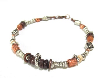 Copper Anklet/ Shell Anklet/ Mixed Metals Jewelry/Groovy Boho Anklet/Silver Diamonds/Brown Shell Heishi/Copper Beads/Golden Citrine