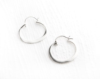 Oval Simplicity Sterling Silver Hoop Earrings