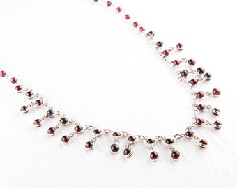 Delicate Garnet and Sterling Silver Necklace