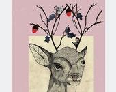 Deer Tree - Pencil & collage illustration
