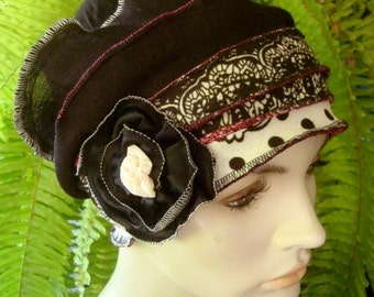 Womens Hats for Chemo black and white spot Hairloss Headwear Hat  Flapper  Cloche Beanie With white or Black Flower