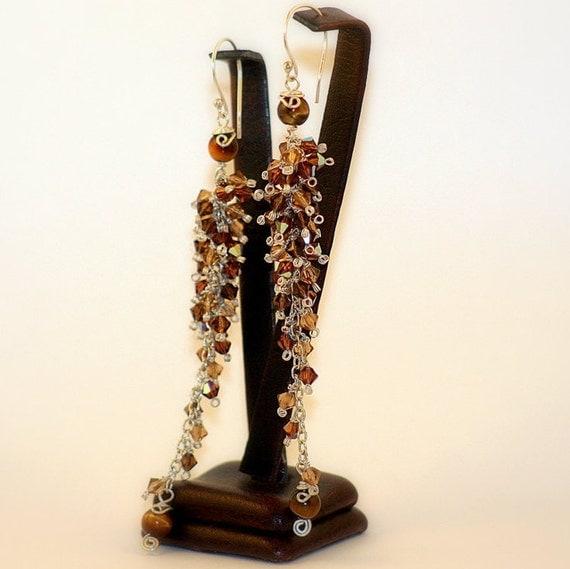 Dangle Earrings Long Chandelier Earrings Tiger Eye Swarovski Crystal Earrings Sterling Silver Earrings / 925K Wedding Bridal Earrings /Gift