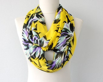 Bright yellow infinity scarf tropical print scarf floral scarf summer scarves loop scarf tube scarf womens fashion scarf gift for her