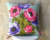 MINT POPPIES Vintage Irish  Linen Tea Towel Cushion Cover Upcycled Repurposed Spring Flowers Pillow Cushion