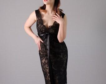Vinatge 1960's Suzy Perette Nude Illusion Lace Dress