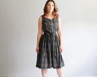 50s Plaid Dress - Vintage 1950s Dress - Simple Maneuver Dress