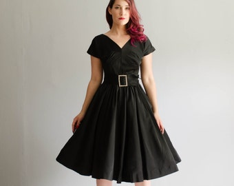 Vintage 1950s Party Dress - 50s Little Black Dress - Party Starter Dress