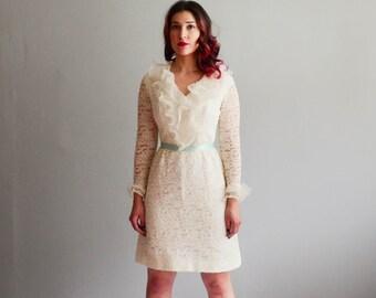 Vintage 1960s Lace Dress - 60s Mini Dress - Whipped Cream Dress