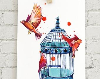 "Vintage Bird Cage: 5x7"" print"