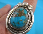Huge Pawn Turquoise Sterling Silver Ring