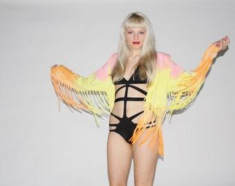 Vintage Neon Festival Fringe Tie Dye Jacket - Vintage Tie Dye Jacket  - Vintage Fringe Jackets - WO0206