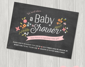 Baby Shower Invitation, Baby Boy, Baby Girl, Vintage Floral, Woodland, Bee, Chalkboard, Kraft