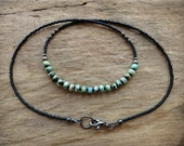 Dainty Turquoise Necklace, black and light blue green African turquoise jasper beaded Bohemian jewelry