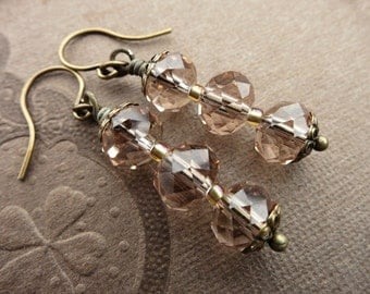 Taupe Crystal Dangle Earrings, rustic yet elegant vintage inspired antique style jewelry in peach champagne faceted glass