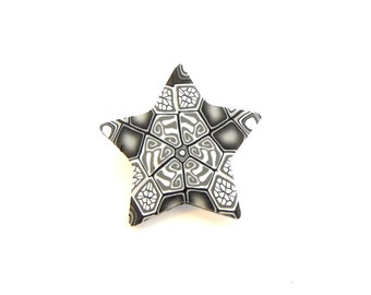 Grey Star Brooch, Intricate Millefiori Art, Badge, Pin, Polymer Clay, Fimo, Little Gift, Supremily Jewellery