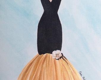 Fashion illustration, Dress Painting, Vintage fashion, 1950s, fifties, midcentury, fashion, painting of dress