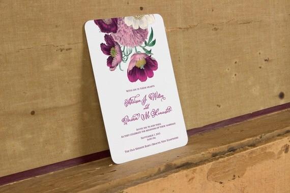 Bright Wedding Invitations: Rustic Purple Flowers Wedding Invitation Bright Rustic