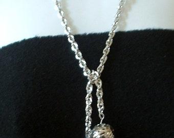 Vintage Lariat Necklace High Shine Silver Metal Filigree Ball So Versatile