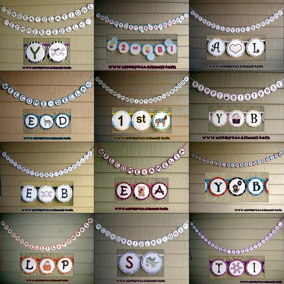 completely custom banner - you pick the design / letters (up to 25 circles) happy birthday, baby shower, holidays, etc.