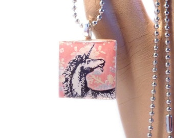White Unicorn and Pink Flowers Square Wood Tile Pendant with Necklace
