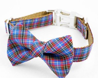 Bow Tie Dog Collar - Blue Tartan