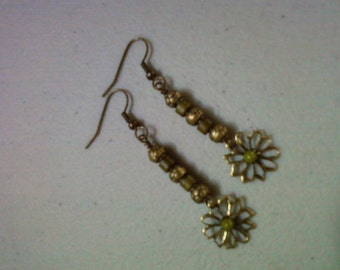 Olive Green and Brass Flower Earrings (0774)