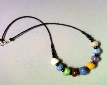 Multicolor Ceramic Bead Necklace (1449)