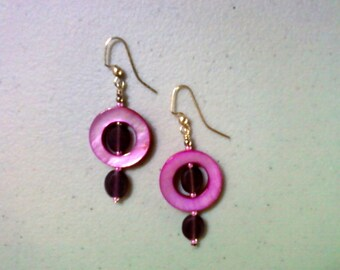 Pink and Purple Shell and Glass Bead Earrings (0238)