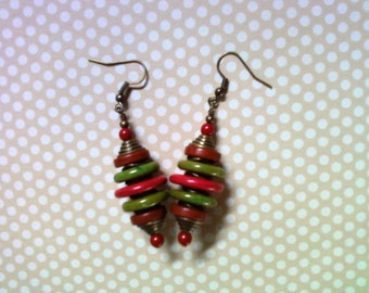 Olive Green, Brown and Red Earrings (1547)