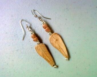 Rustic Clay Leaf Earrings (0882)