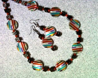 Funky Rainbow Necklace and Earrings (2058)