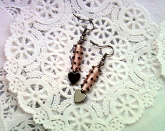 Pink and Black Spotted Heart Earrings (1878)
