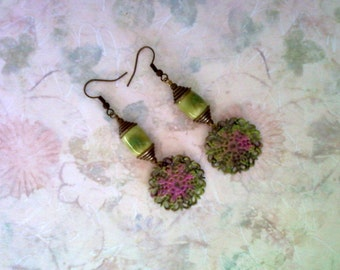 Lime Green and Pink Earrings (1780)