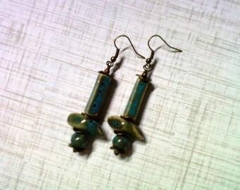 Country Blue Ceramic Earrings (2080)