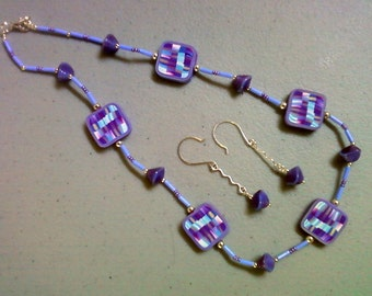 Lavender and sky blue necklace and earrings (0715)