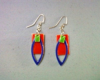 Red, Blue and Green Enamel Earrings (0546)