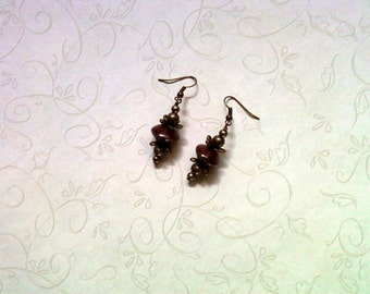 Maroon and Brass Earrings (1732)
