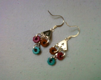 Maroon, Teal and Brown Earrings (0492)