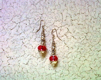 Pink and Silver Earrings (2135)