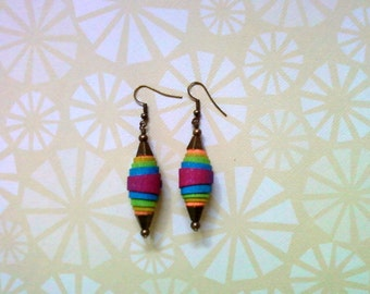 Rainbow Denim Earrings (2152)
