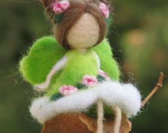 Needle felted Waldorf inspired Mobile Ornament Little magic fairy sitting on a seed
