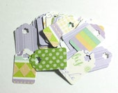 25 Pastel and Glitter Print Cardstock Small 1 inch Gift Tags Retail Hang Tags - Baby Shower Favor Tags