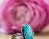 Bohemian Turquoise Ring - Made to Order - Rustic Turquoise Ring - Bohemian Jewelry Ring - Oxidized Ring - Gift for Women Girlfriend Wife