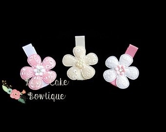 Ivory Pink Hair Clips, Gift for Her, Baby Girl Hair Clips, Toddler Hair Bows, Hair Clips for Girls, Infant Hair Clip, Baby Clips