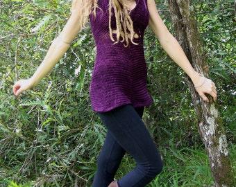 Original Designed Crochet Mandala Hooded Pixie Tunic Dress Merino Wool