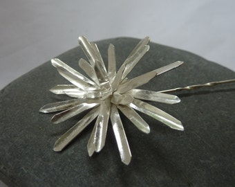 Chrysanthemum flower brooch: Handmade, sterling silver