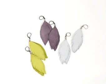 Leather or suede feather earrings in light grey, lemon or smoky violet