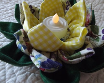 Fabric Water Lily Centerpiece in Yellow and Green with Pansies